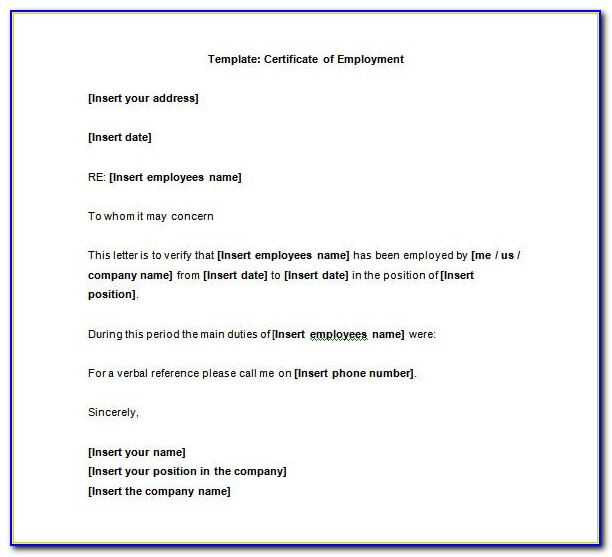 Certificate Of Employment Template With Salary