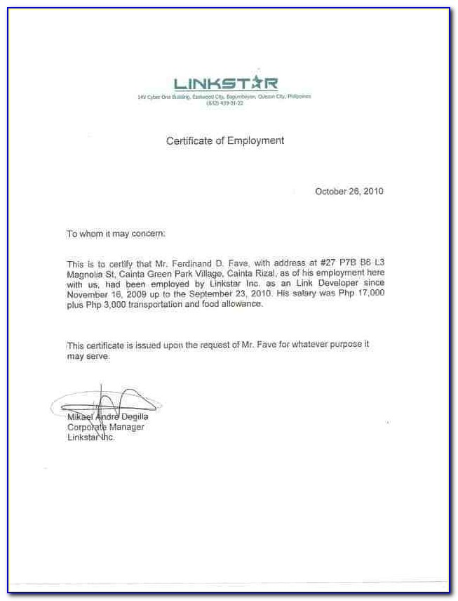 Certificate Of Employment Template Word Free