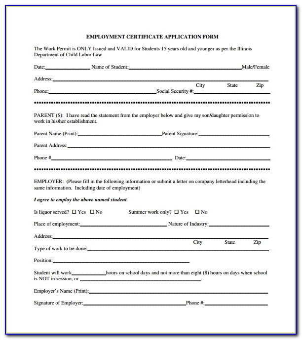 Certificate Of Employment Template Word
