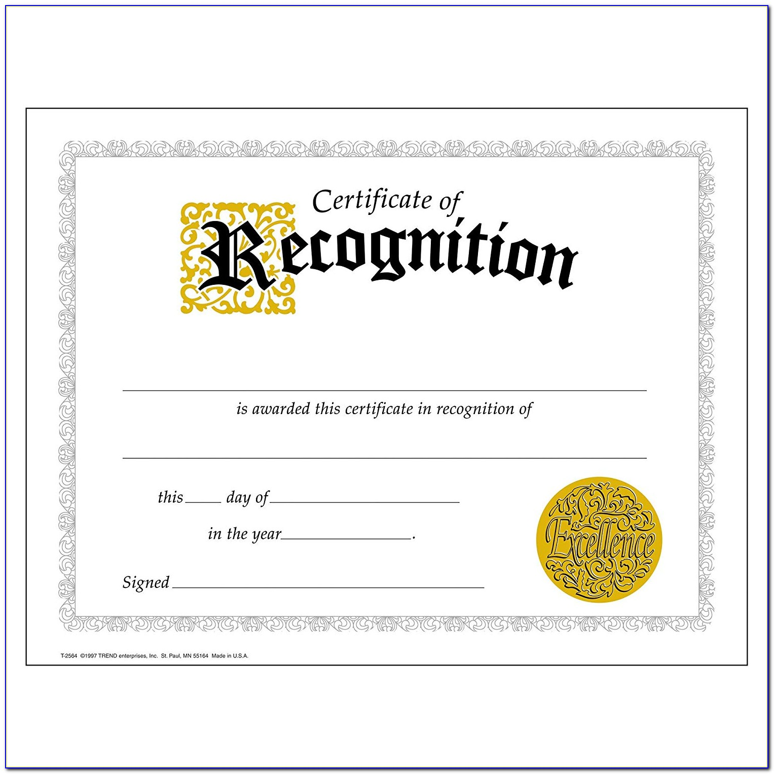 Certificate Of Recognition Template Free Download Word