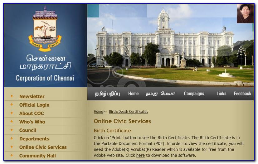 Chennai Corporation Birth Certificate Correction Online