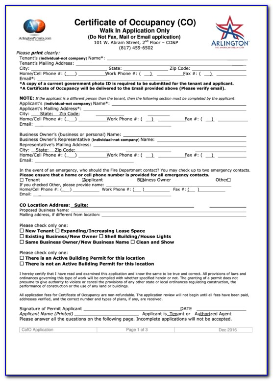 City Of Dallas Certificate Of Occupancy Application Form