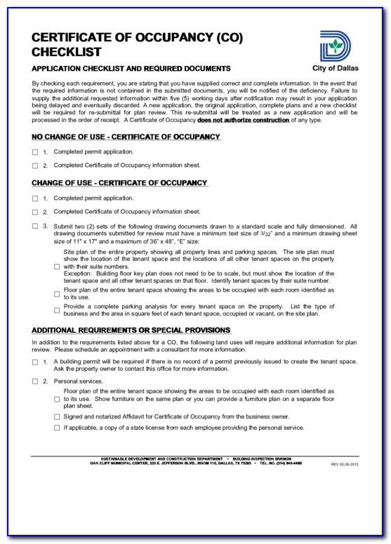 City Of Dallas Certificate Of Occupancy Application
