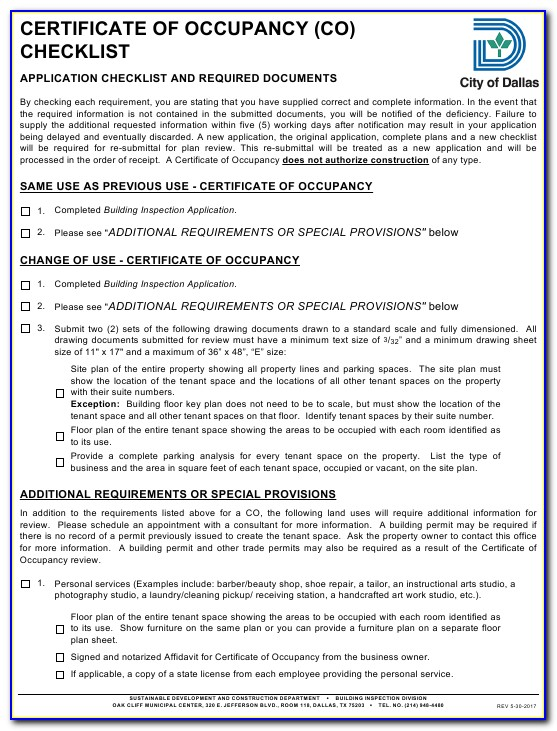 City Of Dallas Certificate Of Occupancy Look Up