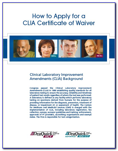 Clia Certificate Of Waiver Application