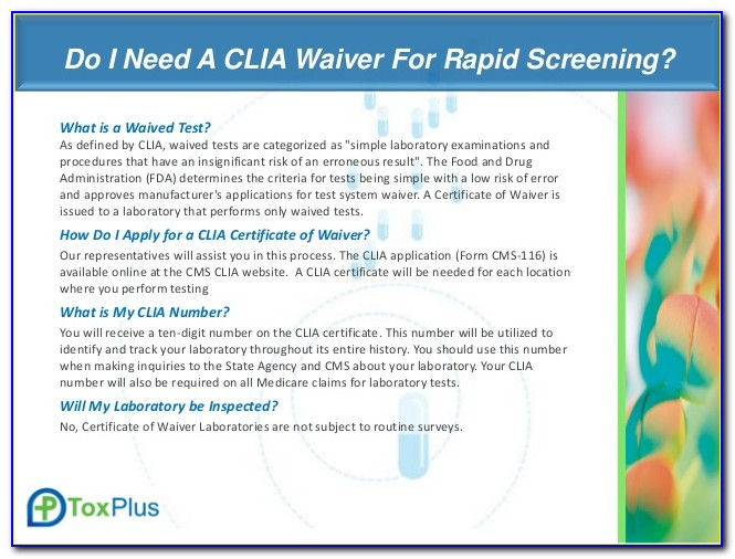 Clia Certificate Of Waiver Certificate Of Compliance