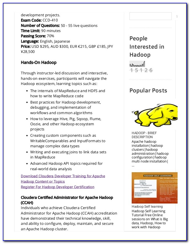 Cloudera Hadoop Certification Questions