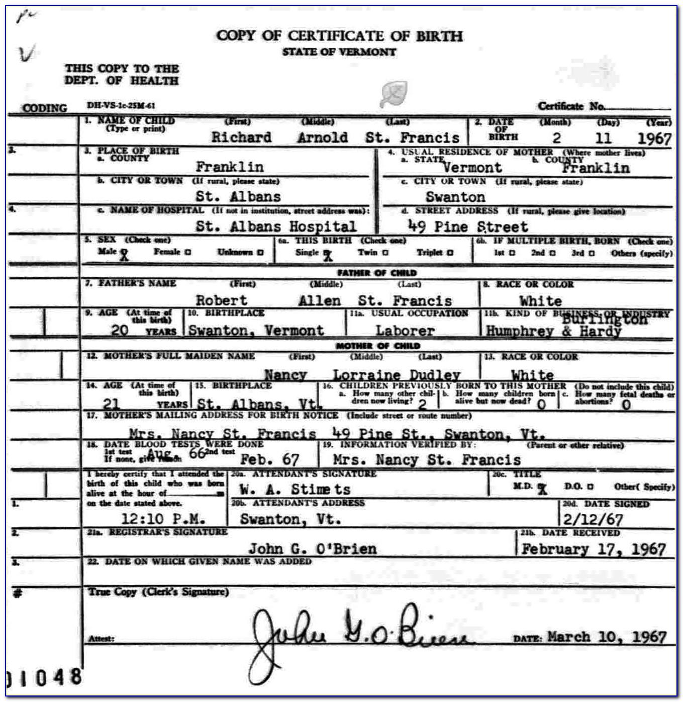 Cobb County Georgia Birth Certificate
