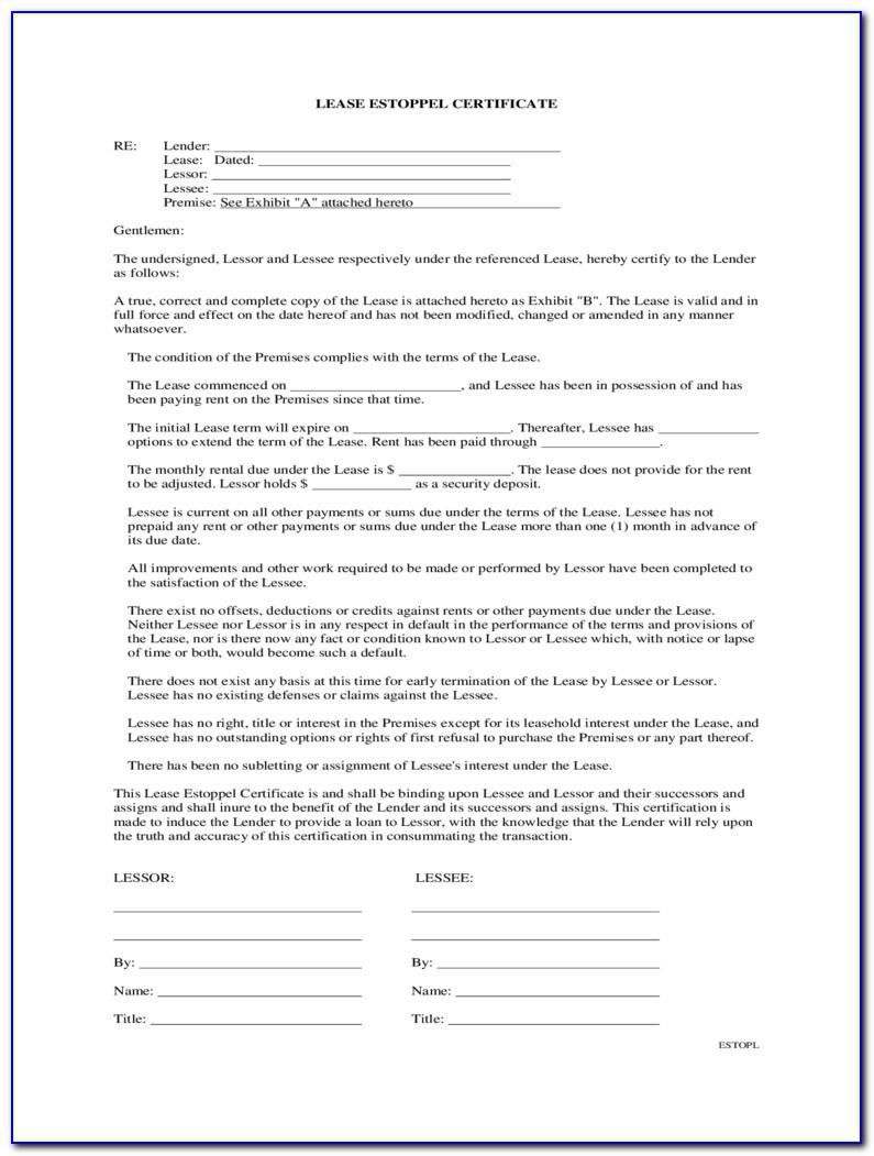 Commercial Estoppel Certificate Form