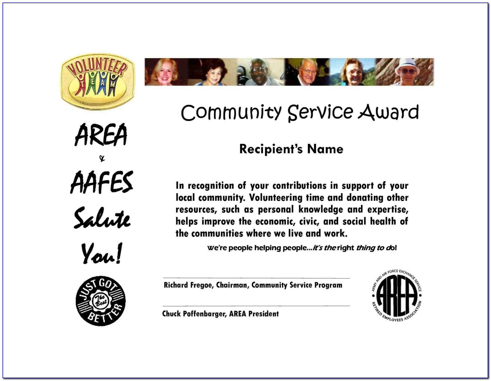 Community Service Certificate 3