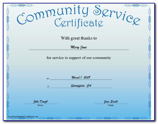Community Service Certificate 4