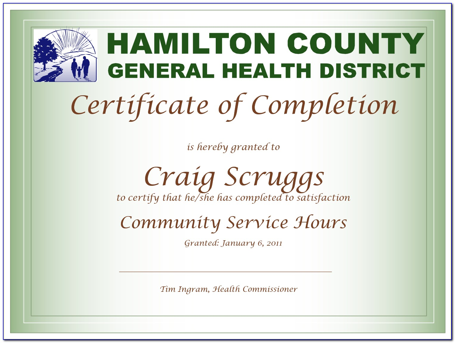 Community Service Certificate Of Completion