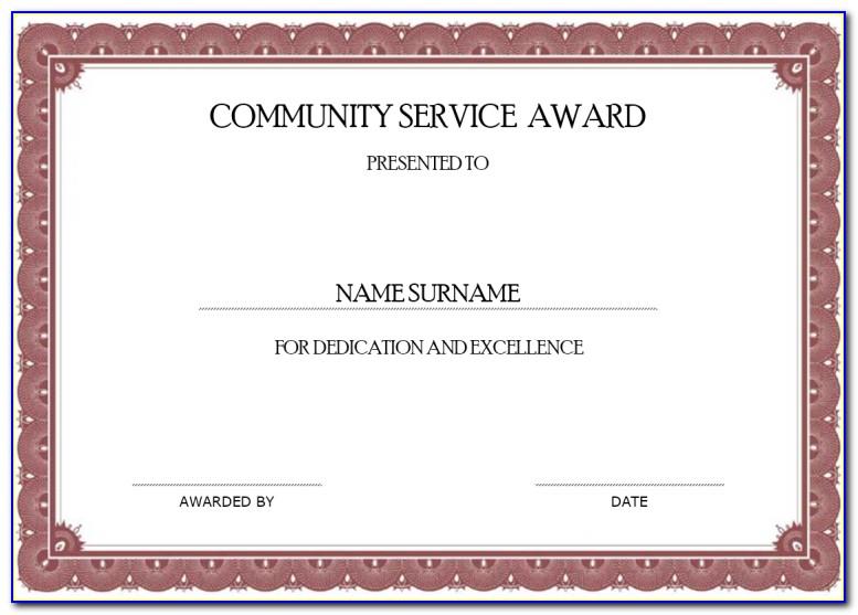 Community Service Certificate Online