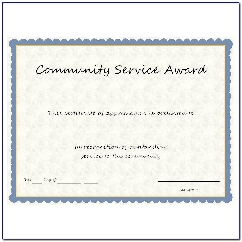 Community Service Certificate Template