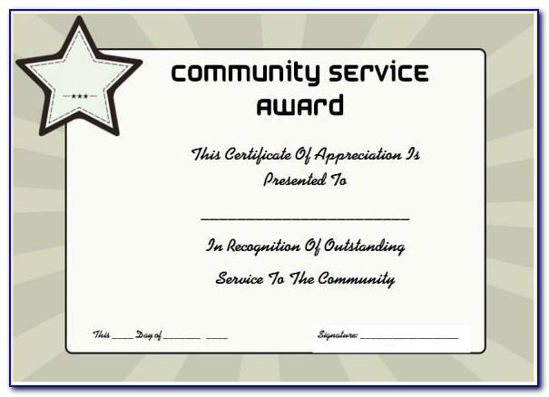 Community Service Certificate Wording