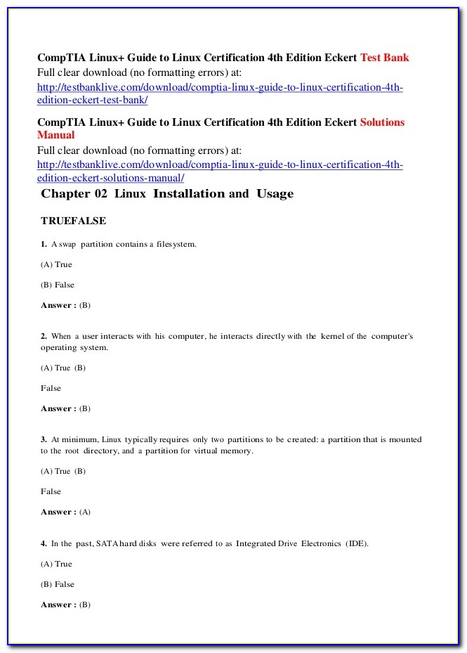 Comptia Linux+ Guide To Linux Certification 4th Edition Chapter Review Answers