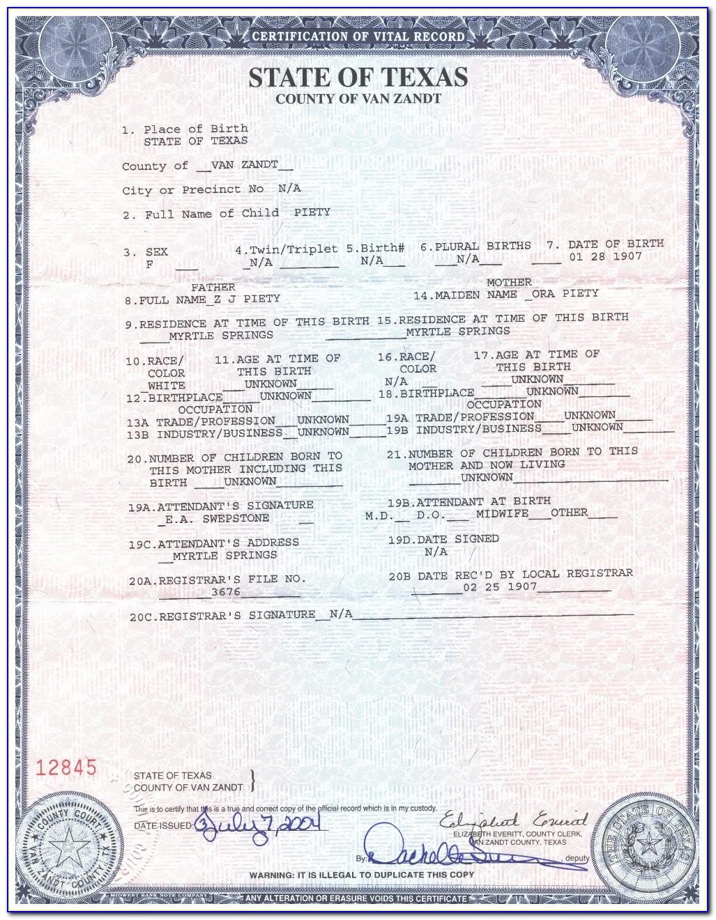 Copy Of Birth Certificate Pasadena Tx