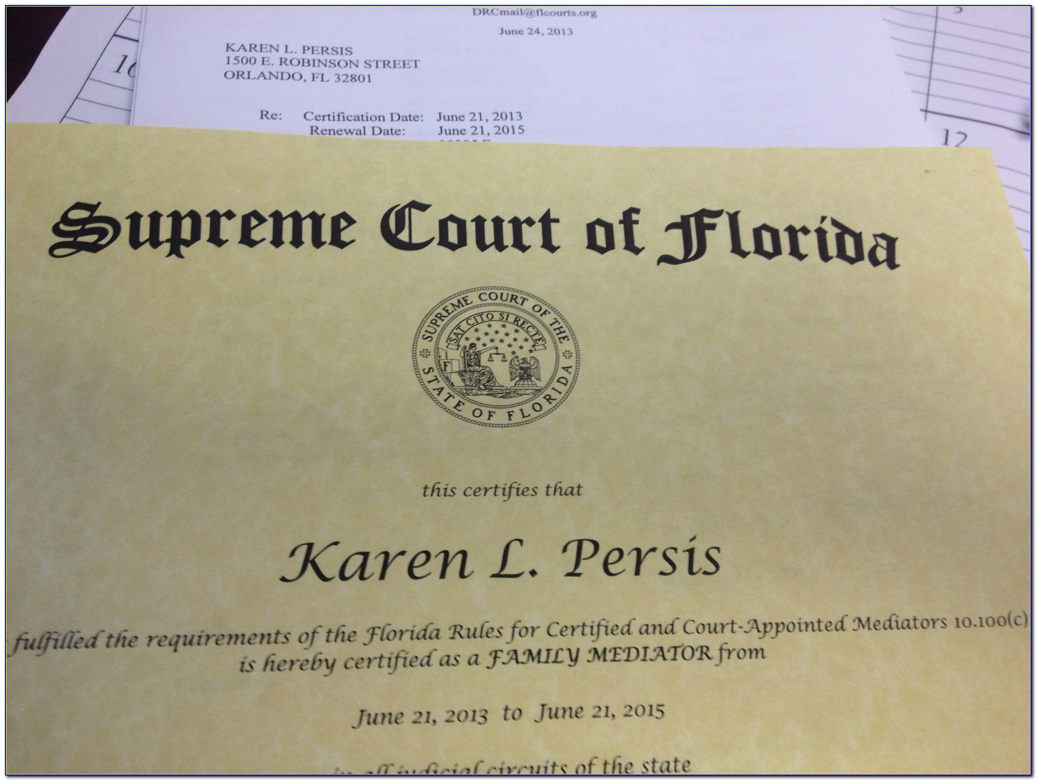 County Court Mediation Certification Florida