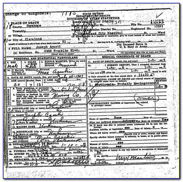 Cuyahoga County Death Certificates Online