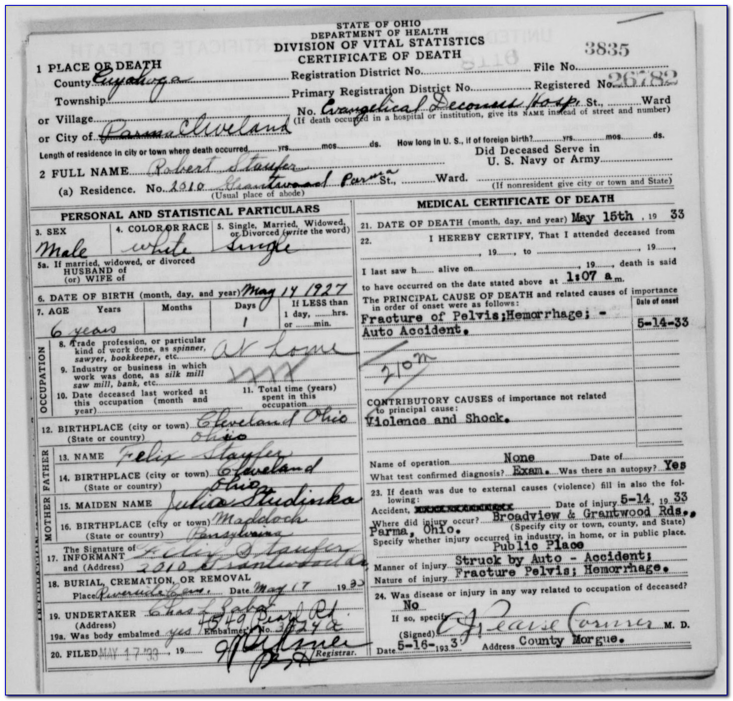 Cuyahoga County Ohio Death Certificates