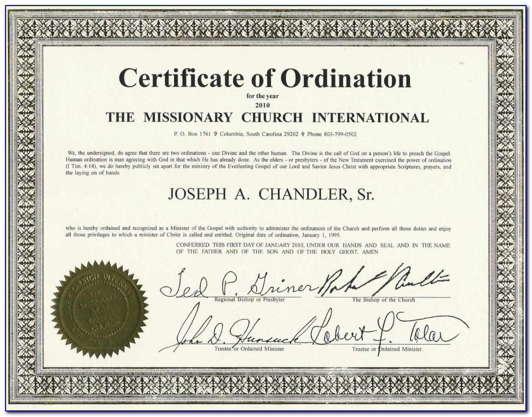 Deacon Ordination Certificate Template