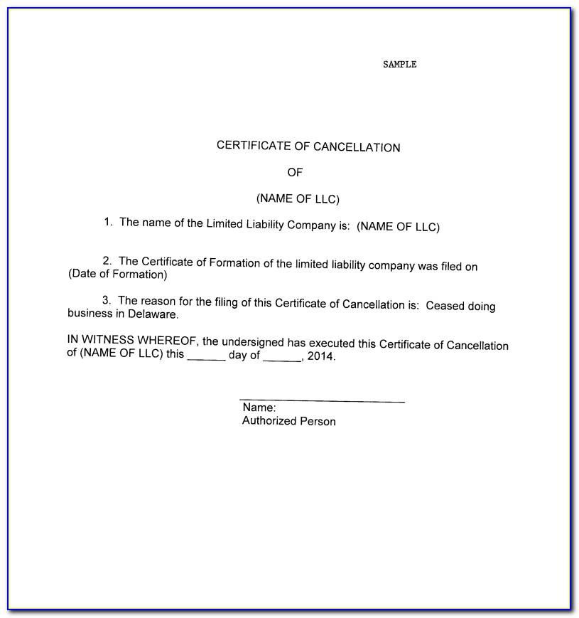 Delaware Certificate Of Cancellation Corporation