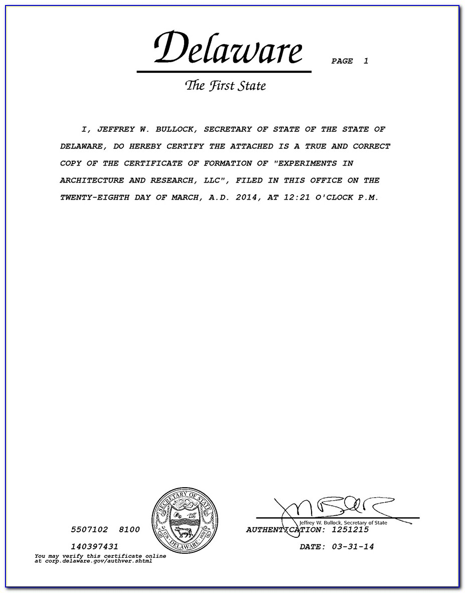 Delaware Llc Certificate Of Formation Form