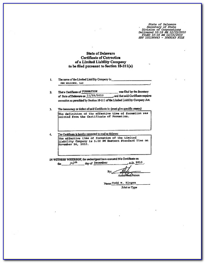 Delaware Llc Certificate Of Formation Or Articles Of Organization