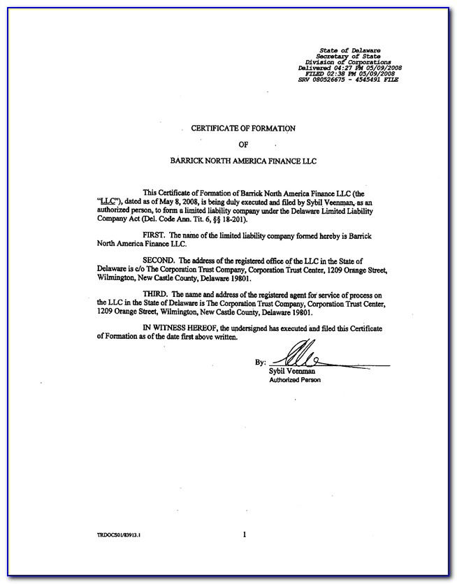 Delaware Llc Certificate Of Formation Requirements