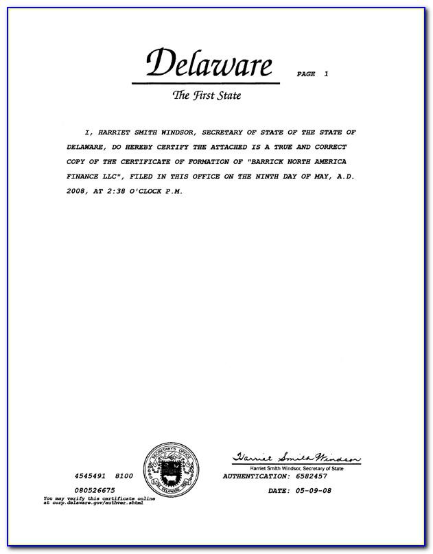 Delaware Llc Certificate Of Formation Sample