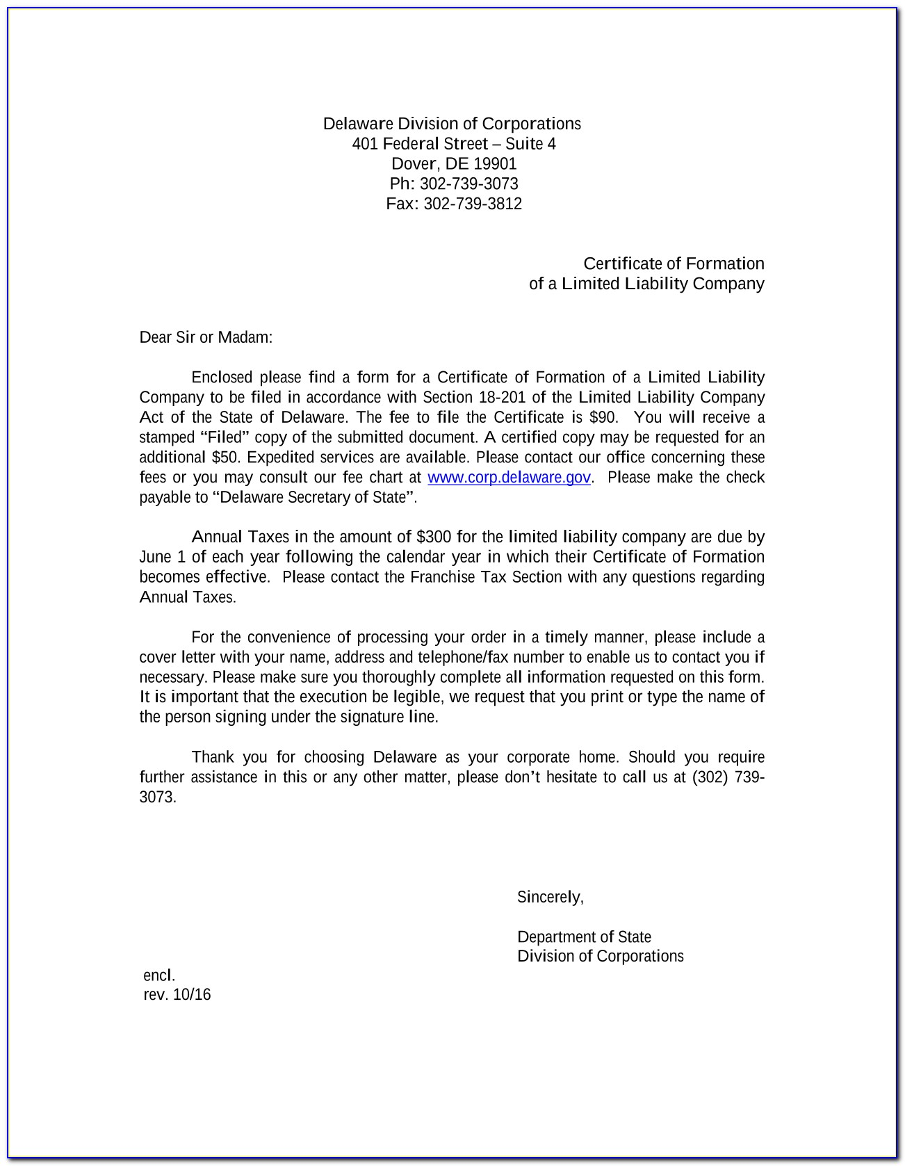 Delaware Llc Certificate Of Formation