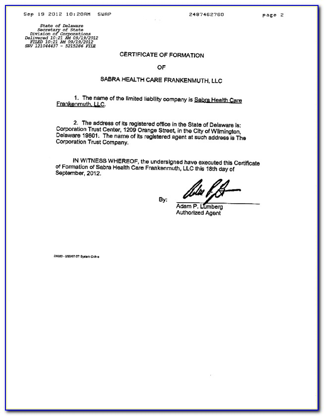 Delaware Series Llc Certificate Of Formation