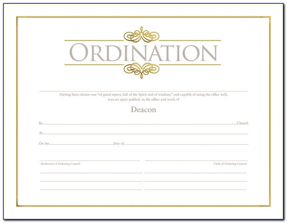 Download Pastor Ordination Certificate