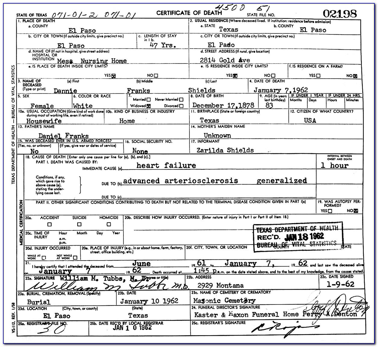 El Paso County Birth Record