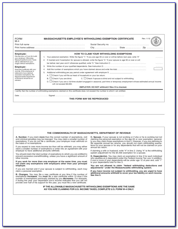 Employee's Withholding Exemption Certificate It 4