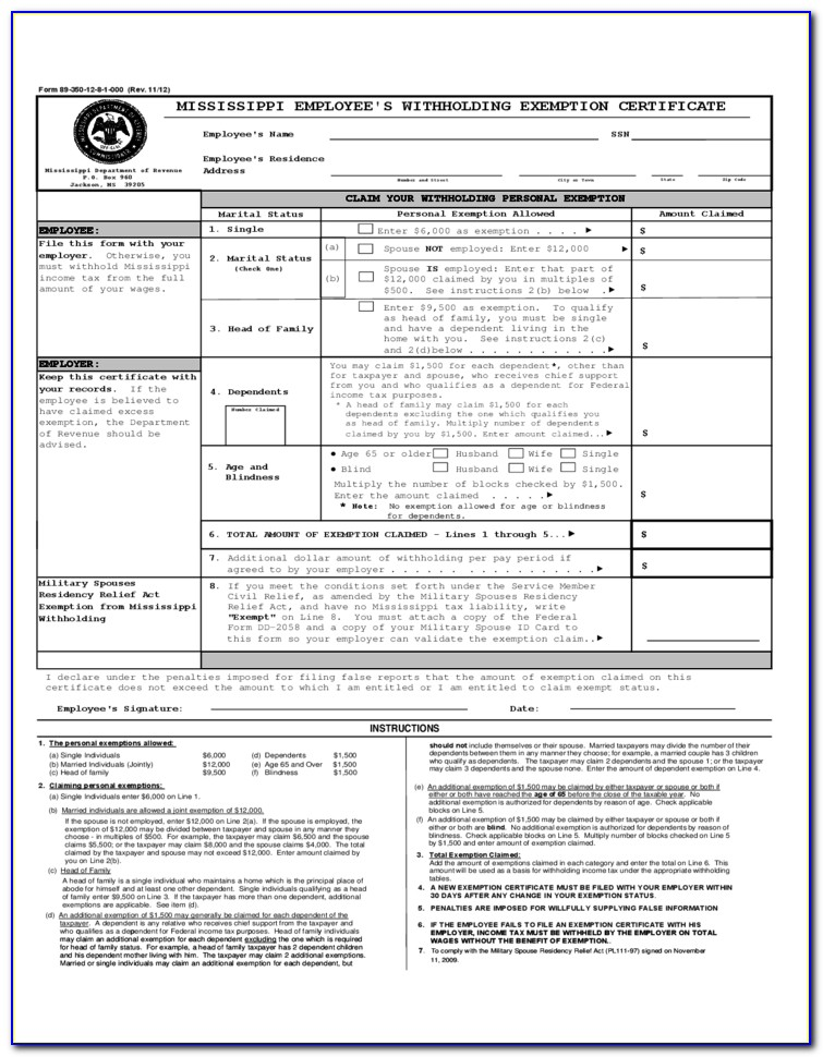Employee's Withholding Exemption Certificate Ohio