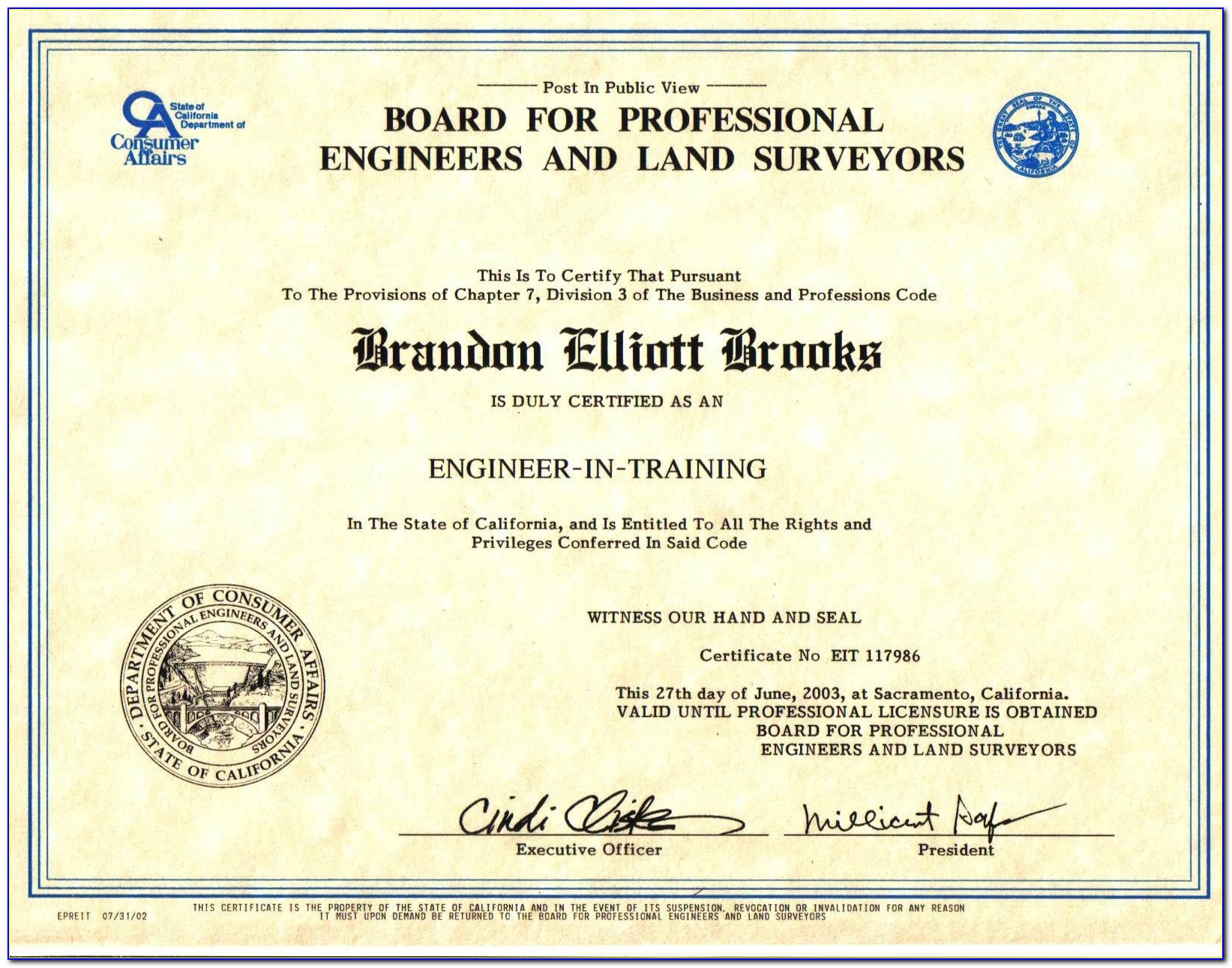 Engineer In Training (eit) Certification California
