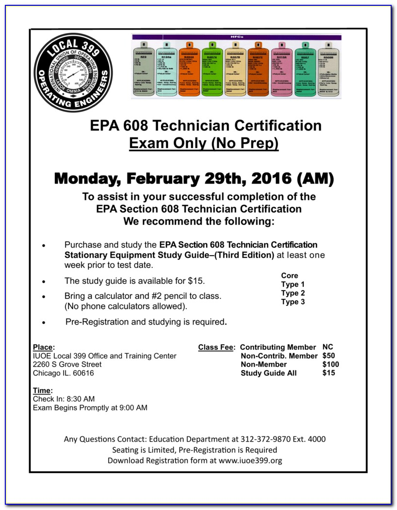 Epa 608 Certification Test Cost