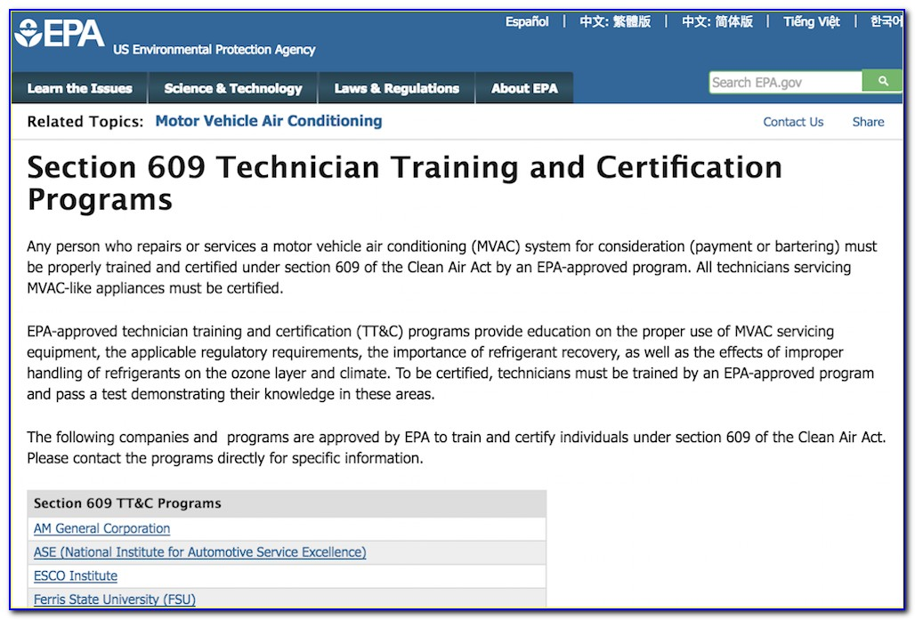 Epa 609 Certification Test Online