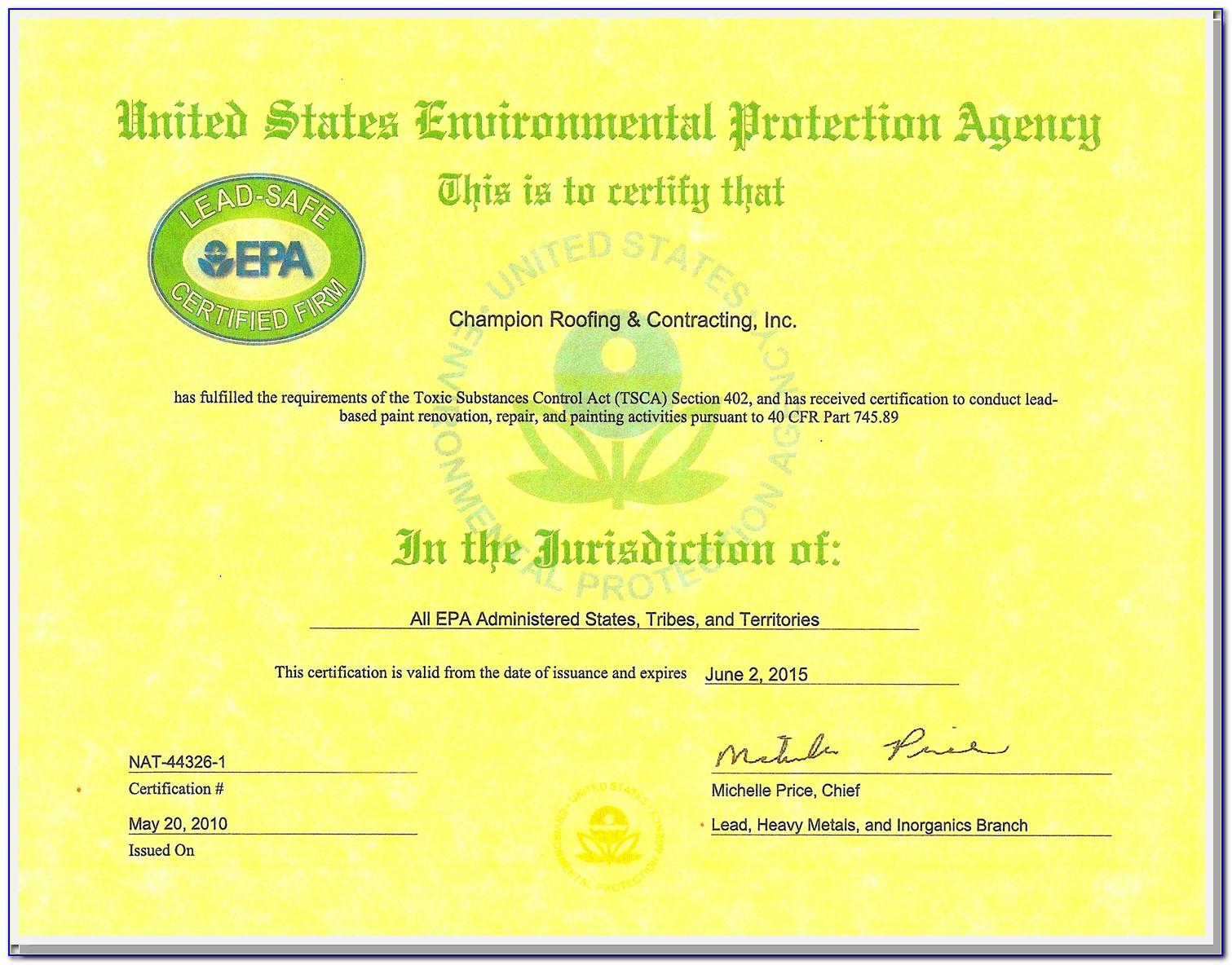 Epa Lead Certification License Lookup