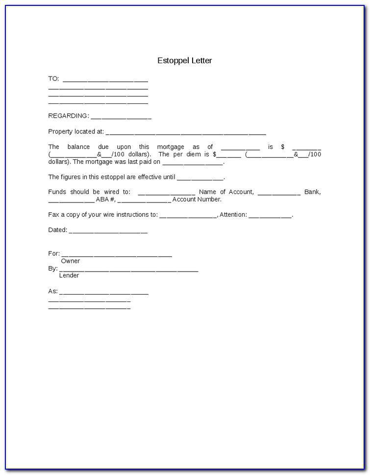 Estoppel Certificate Form California