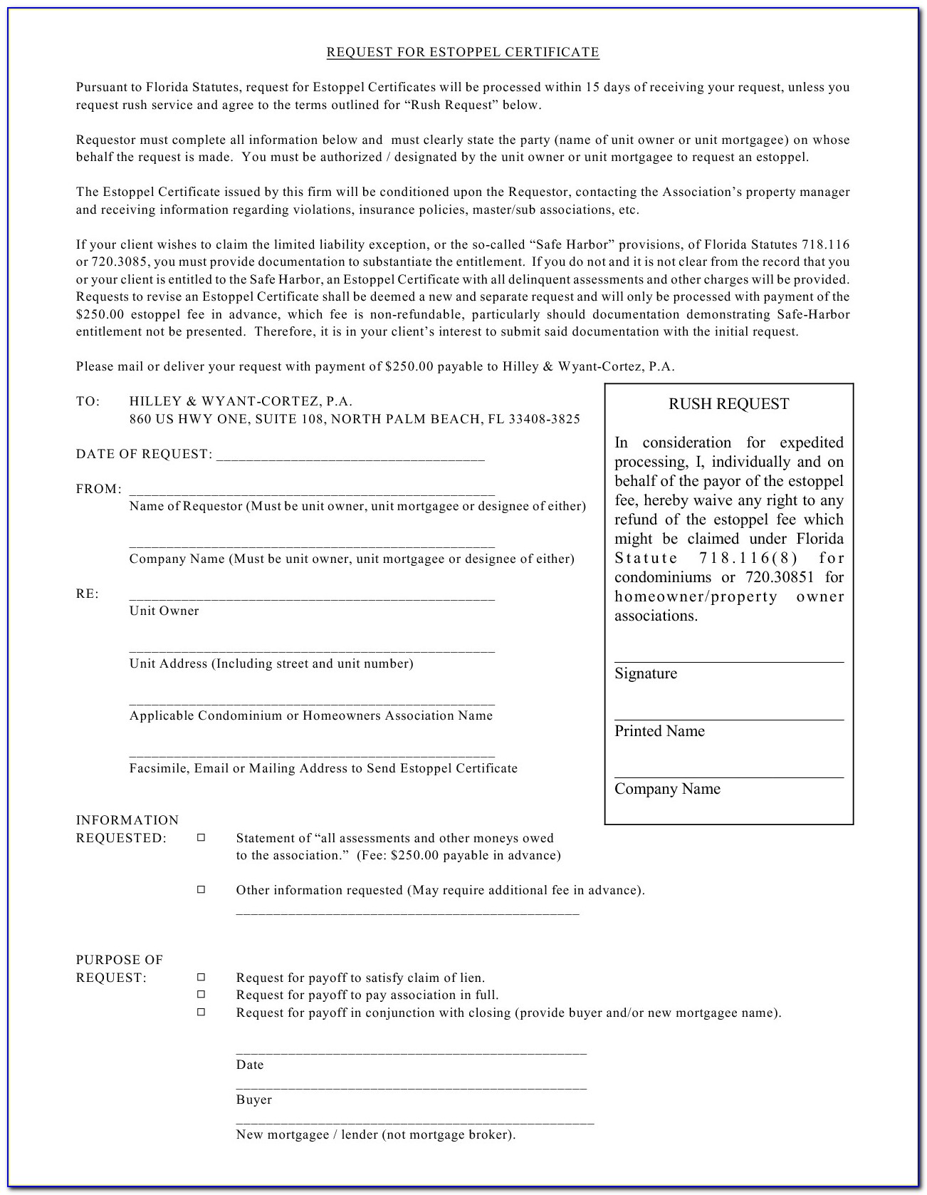 Estoppel Certificate Form Florida