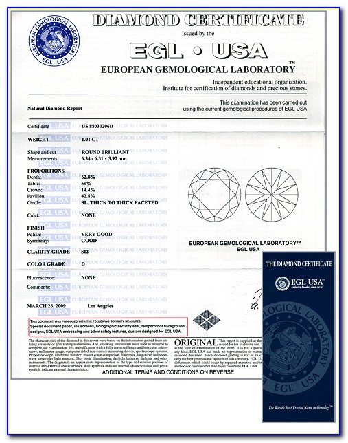 European Gemological Laboratory Egl Diamond Certification