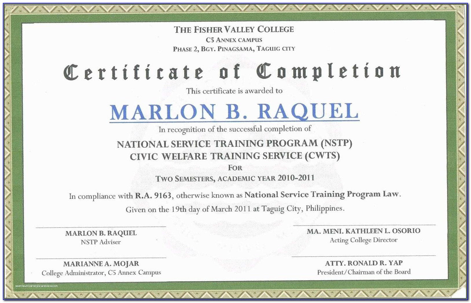 Example Of Certificate Of Appreciation For Students