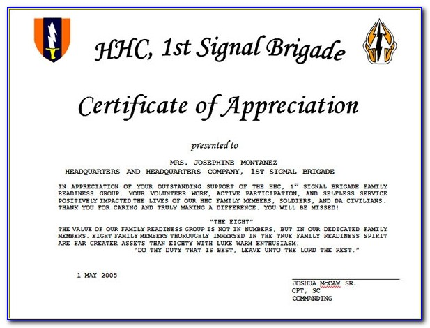 Example Of Certificate Of Appreciation In English