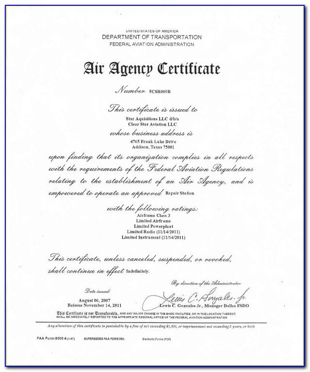 Faa Repairman Certificate Experimental