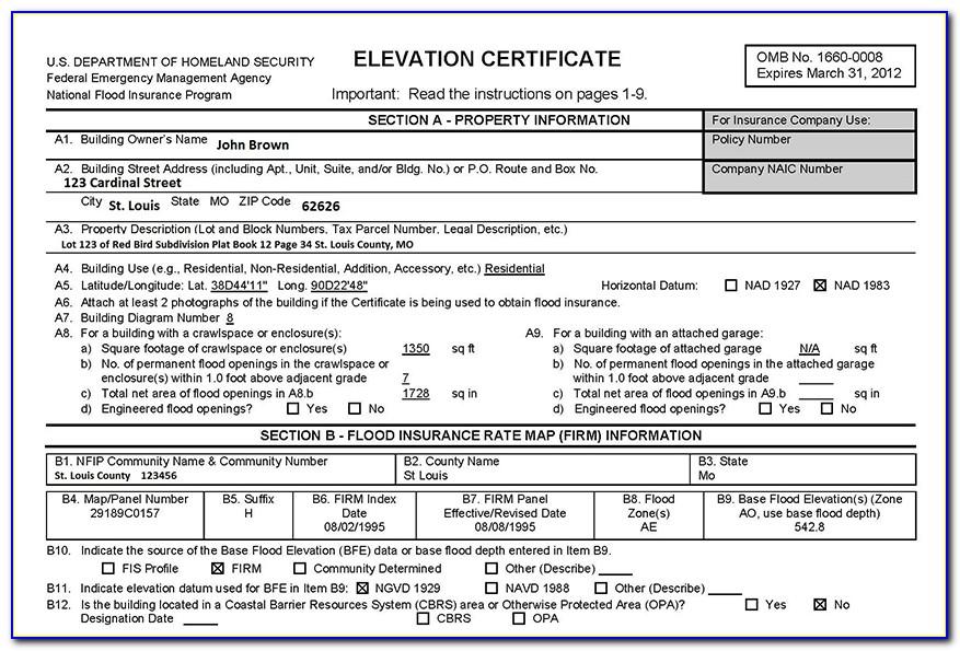 Fema Nfip Elevation Certificate