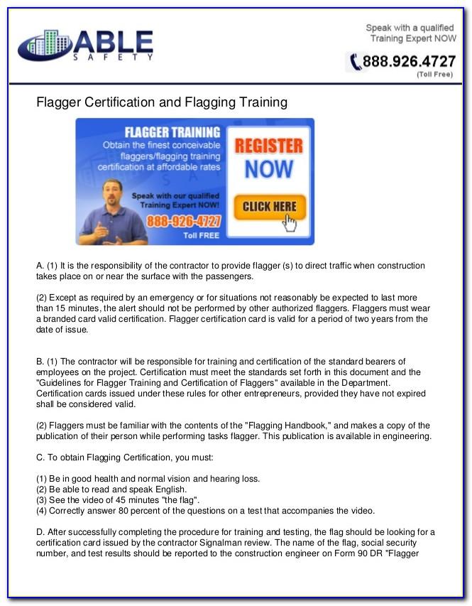 Flagger Certification Online Course Oregon
