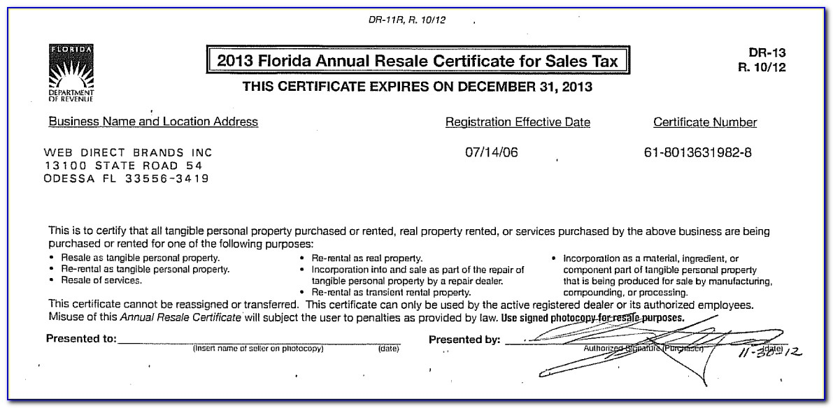 Florida Annual Resale Certificate For Sales Tax Download