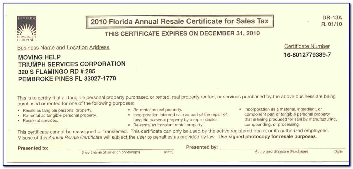 Florida Annual Resale Certificate For Sales Tax Form